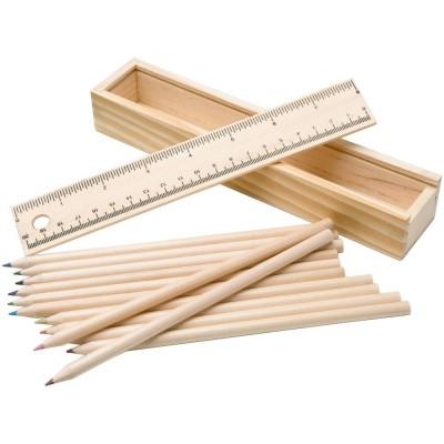Набор из 12 карандашей в подарочной коробке с линейкой